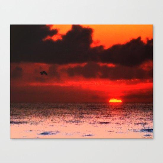 Pelican at Sunrise Canvas Print