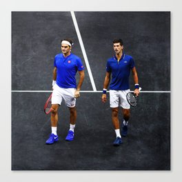 Federer and Djokovic Doubles Canvas Print