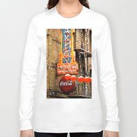coca cola Long Sleeve T-shirts featuring CHINESE COCA COLA SIGNBOARD by Voodoo Bench