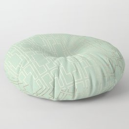 Simply Mid-Century in White Gold Sands and Pastel Cactus Green Floor Pillow