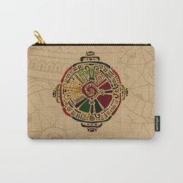 Colorful Hunab Ku Mayan symbol on cotton Carry-All Pouch