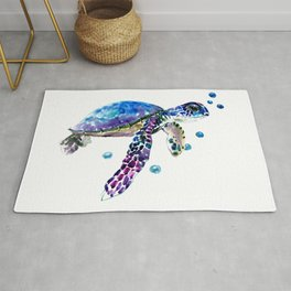 Sea Turtle, blue purple illustration children room cute turtle artwork Rug