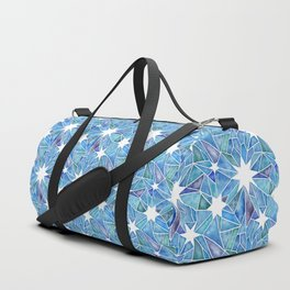 Geometric Crystalline Star Pattern in Blues Duffle Bag