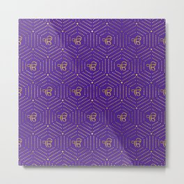 Gold geometric Ek Onkar / Ik Onkar  pattern on violet Metal Print