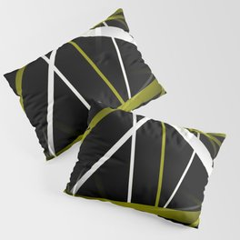 Seamless Olive Green and White Stripes on A Black Background Pillow Sham