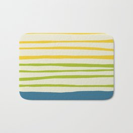 Playing with Strings - Line Art - Blue, Green, Yellow Bath Mat