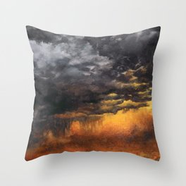 Watercolor Sky No 6 - dramatic storm clouds Throw Pillow