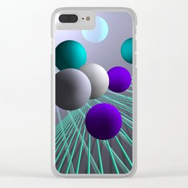 converging lines and balls -4- Clear iPhone Case