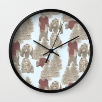 bears Wall Clocks featuring Bears  by Ellie Price