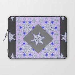 DECORATIVE GREY SNOW CRYSTALS  WINTER ART Laptop Sleeve