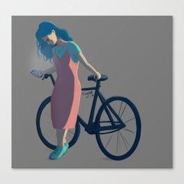 Bicycle Blue Hair Girl Canvas Print