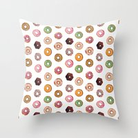 donuts Throw Pillows featuring Donuts by BySamantha | Samantha Ranlet