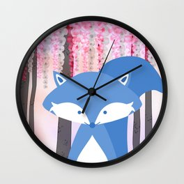 Cute Nursery Fox Flowers Design Wall Clock