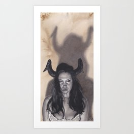 Realism Drawing of a Sexy Devilish Woman with Coffee Stained Background Art Print