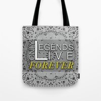tupac Tote Bags featuring LEGEND by irokart