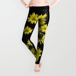 Sunflowers Over Black Leggings