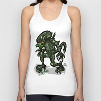 xenomorph Tank Tops featuring Xenophobe?  Well, yeah...  This Alien spits acid! The Aliens Xenomorph Alien! by beetoons