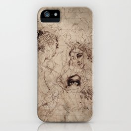 Renaissance Style Life Gesture Drawing Collage iPhone Case