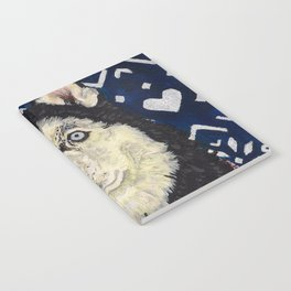 Husky in a Hat and Scarf Notebook