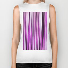 Lavender, Iris and Grape Stripy Pattern Biker Tank