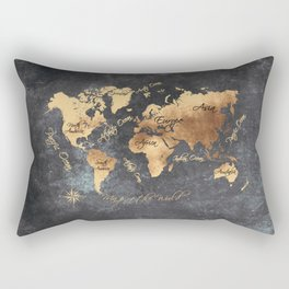 world map 147 gold black #worldmap #map Rectangular Pillow