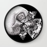 propaganda Wall Clocks featuring Skull Propaganda by Tio Dwi Nata
