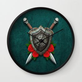 Shield with Chinese Dragon, Roses and Crossed Swords on Blue Wall Clock