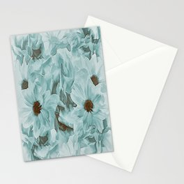 Soft Slate Blue Floral Abstract Stationery Cards