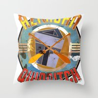 quidditch Throw Pillows featuring AZKABAN QUIDDITCH TEAM VINTAGE by karmadesigner