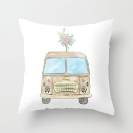 Vintage watercolor car with flowers Throw Pillow