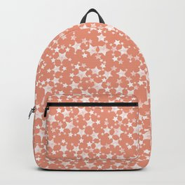 Coral and White Lino Print Stars Pattern Backpack