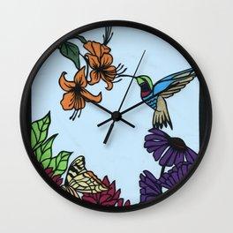 Hummingbird Garden Paper-cut  Wall Clock