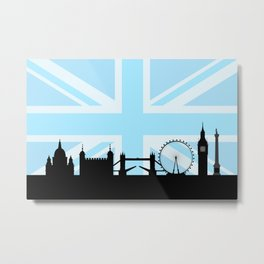London Sites Skyline and Blue Union Jack/Flag Metal Print