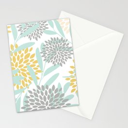 Floral Prints, Leaves and Blooms, Yellow, Gray and Aqua Stationery Cards