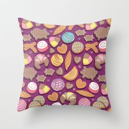 Mexican Sweet Bakery Frenzy // pink background // pastel colors pan dulce Throw Pillow