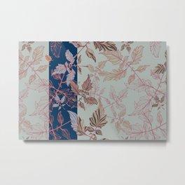 Tomatoes leaves in coral and blue Pantone palette Metal Print