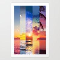 aloha Art Prints featuring ALOHA by Ylenia Pizzetti