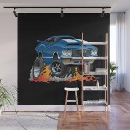 Classic Seventies American Muscle Car Hot Rod Cartoon Illustration Wall Mural