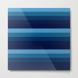 teal blue stripes Metal Print