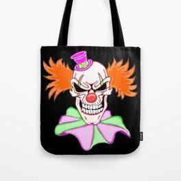 Demented Clown Skull Tote Bag