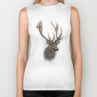 stag Biker Tanks featuring stag by emegi