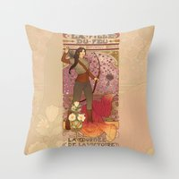 la Throw Pillows featuring La fille du feu by Megan Lara