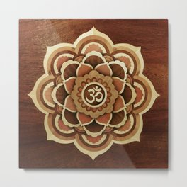 Patience and lucky of harmony mandala wood marquetry Metal Print