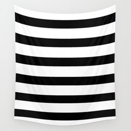 Black and White Horizontal Stripes Wall Tapestry
