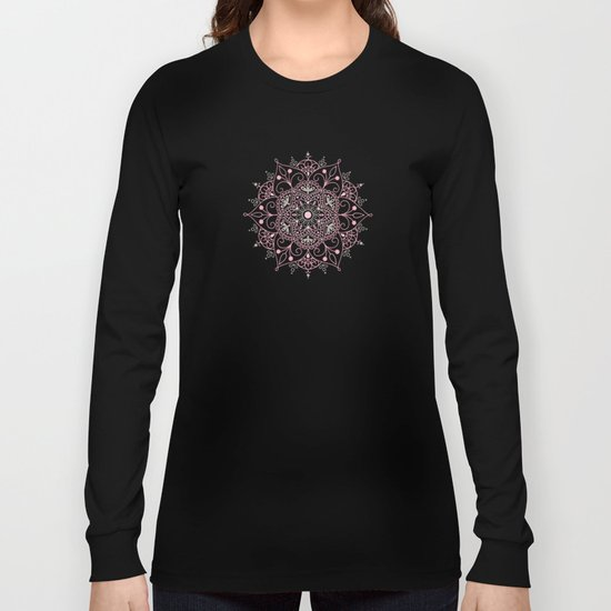 Mandala_Rose-Warm Gray Long Sleeve T-shirt