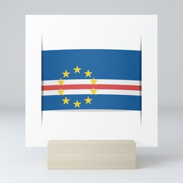 Flag of Cape Verde, officially the Republic of Cabo Verde. The slit in the paper with shadows. Mini Art Print
