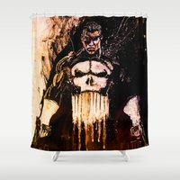 punisher Shower Curtains featuring Punisher by hbCreative