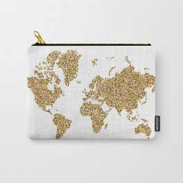 world map white gold Carry-All Pouch