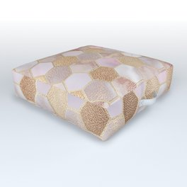 Hexagonal Honeycomb Marble Rose Gold Outdoor Floor Cushion