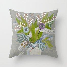 Mystical Flowers Throw Pillow